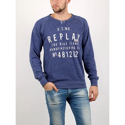 Mikina Replay POLY-COTTON FLEECE Fialová