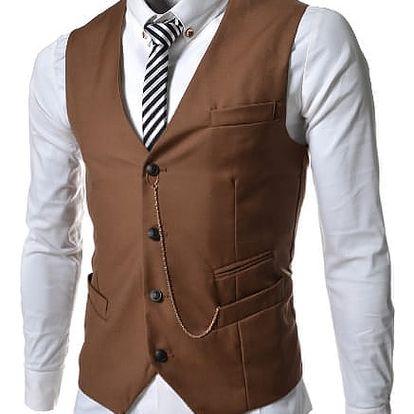 Pánská společenská vesta Elegance hnědá