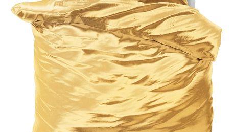 Žluté povlečení ze saténového mikroperkálu na dvoulůžko Sleeptime, 240x220 cm