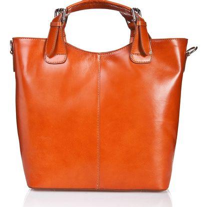 Koňakově hnědá kožená kabelka Massimo Castelli Valeria - doprava zdarma!