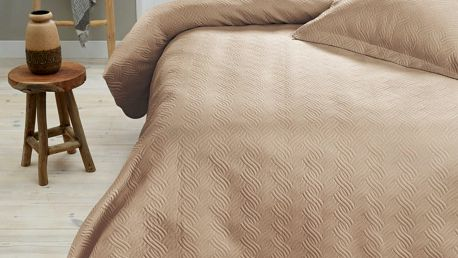 Krémový přehoz přes postel se dvěma povlaky na polštář Sleeptime ,260x250cm