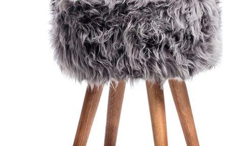 Stolička se šedým sedákem z ovčí kožešiny Royal Dream - doprava zdarma!