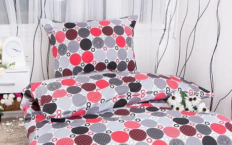 Hermann cotton Bavlněné povlečení DENISA - červenočerná 140x200, 70x90