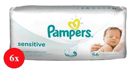 Pampers baby wipes sensitive 6 x 56 kusů