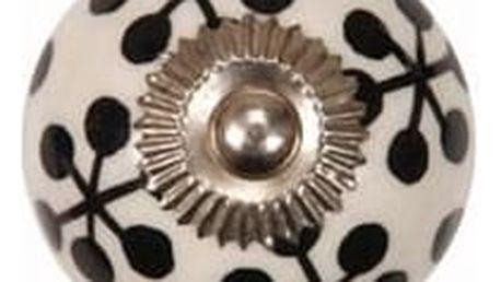 La finesse Porcelánová úchytka Black ornament, černá barva, porcelán 40 mm