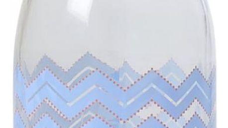 rice Skleněná lahev s modrým potiskem 1 l, modrá barva, čirá barva, sklo