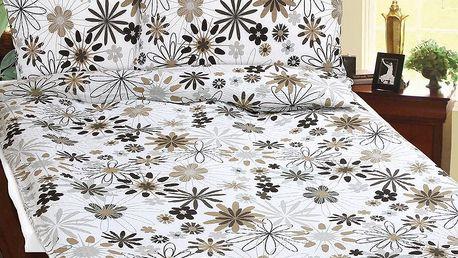 BELLATEX Bavlněné povlečení Béžové kvítí, 140 x 200 cm, 70 x 90 cm