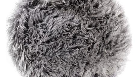 Šedý sedák z ovčí kožešiny na jídelní židli Royal Dream, Ø35cm