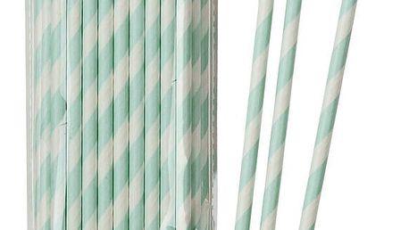 Talking Tables Papírové slámky Mint Stripe - set 30 ks, zelená barva, papír