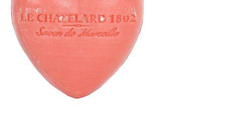 LE CHATELARD Francouzské mýdlo Heart - Jasmín a růže 25gr, růžová barva