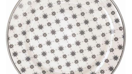 GREEN GATE Dezertní talíř Laurie white, šedá barva, bílá barva, porcelán