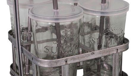 Set 4 skleněných poharů s brčkem a košíkem na nápoje Antic Line