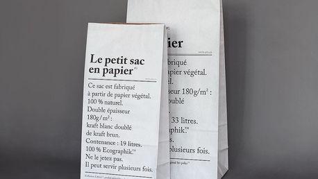 be-pôles Papírový pytel Le Petit Sac En Papier 52 cm, černá barva, bílá barva, papír