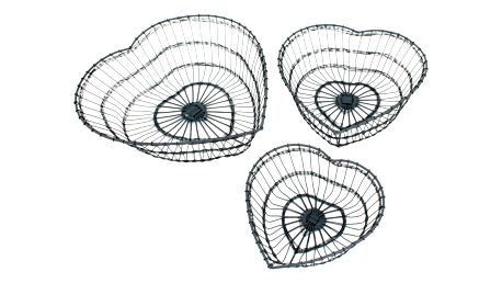 Krasilnikoff Drátěný košík Heart Velikost L, šedá barva, kov