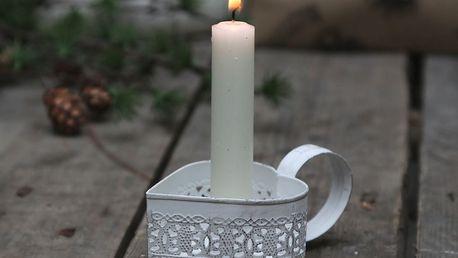 Chic Antique Plechový svícínek s ouškem Heart, bílá barva, kov