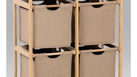Regál bambusový 4-šuplíky (šuplíky v hnědé barvě)