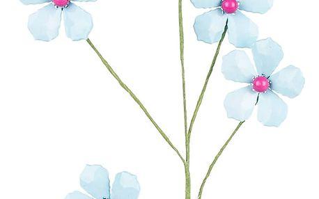 Dekorační květina z korálků modrá, 68 cm