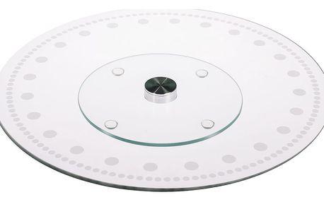 Otočný skleněný servírovací tác Twirl 30 cm