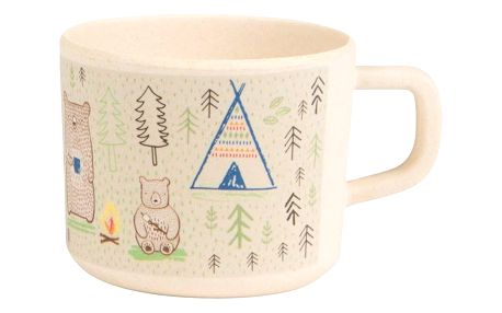 sass & belle Bambusový hrneček Bear Camp 120 ml, béžová barva, hnědá barva, dřevo
