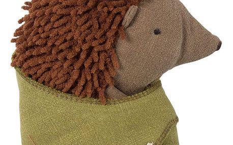 Maileg Malý ježek s lístkem, hnědá barva, textil