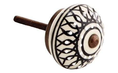 MADAM STOLTZ Keramická úchytka Bead, černá barva, bílá barva, keramika