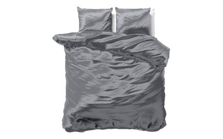 Tmavě šedé povlečení ze saténového mikroperkálu na dvoulůžko Sleeptime, 200x220 cm