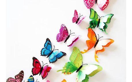 Dekorativní motýlci s dvojitými křídly - 12 kusů - různé barvy