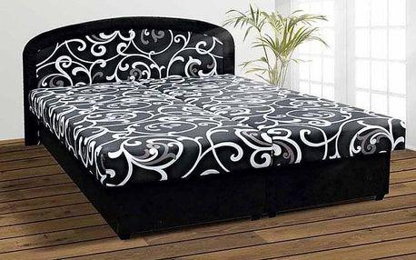 Čalouněná postel Zofie 160x200 cm, černá, s úložným prostorem