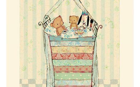 Maileg Plakát Medvídek na hrášku, modrá barva, béžová barva, papír
