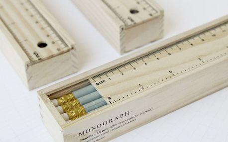 MONOGRAPH Sada tužek v dřevěné krabičce Light Green - 12 ks, přírodní barva, dřevo