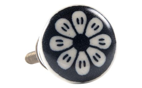 IB LAURSEN Keramická úchytka Flower black, černá barva, keramika