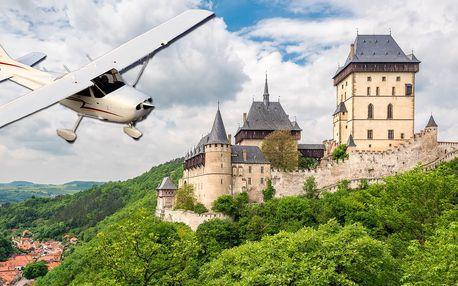 Vyhlídkové lety nad Prahou, Karlštejnem, Velkou a Malou Amerikou aj.