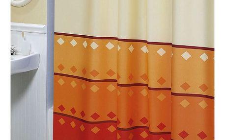 Bellatex Sprchový závěs Geometrie oranžová, 180 x 200 cm
