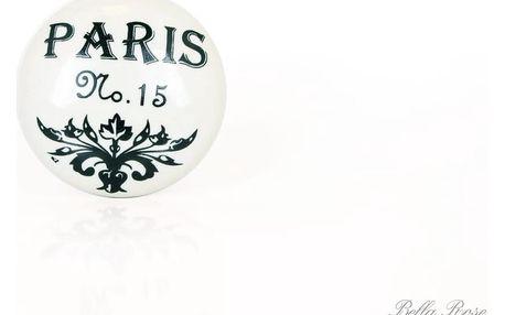 La finesse Porcelánová úchytka Paris, černá barva, porcelán 40 mm