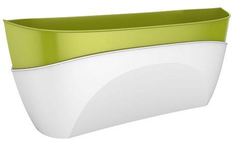 Samozavlažovací truhlík Doppio sv. zelená + bílá, Plastia