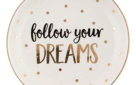 sass & belle Mini talířek Follow your dreams, bílá barva, zlatá barva, keramika