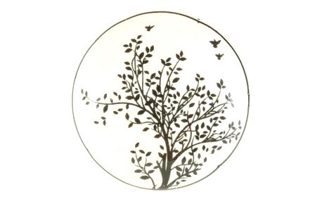 La finesse Porcelánová úchytka Black Tree, černá barva, bílá barva, porcelán 40 mm