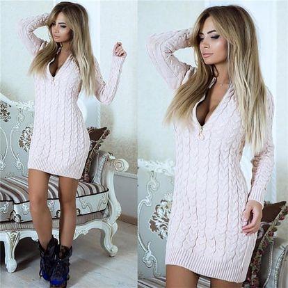 Dlouhé svetrové šaty Chaisy