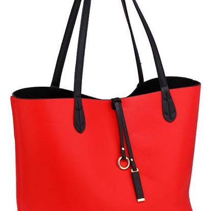 SET: Dámská černočervená oboustranná kabelka Kylie 567