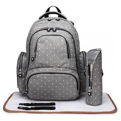 SET: Mateřský šedý batoh na kočárek Dario 6706D