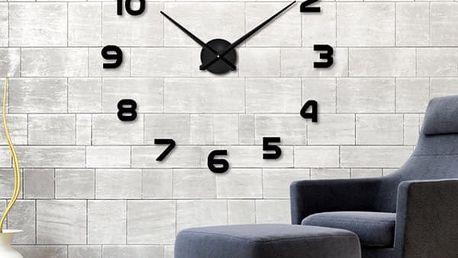 Velké nástěnné 3D hodiny - černá barva - dodání do 2 dnů