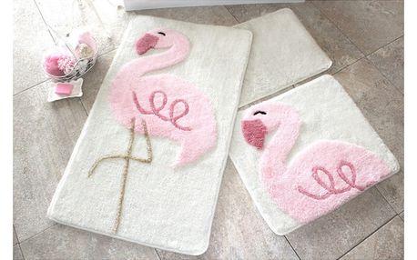 Sada 3 předložek do koupelny Alessia Flamingo