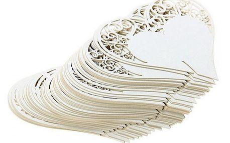 Svatební dekorace na skleničky - Srdíčka - 50 kusů