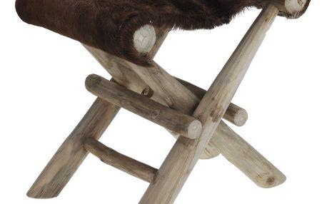 Dřevěná skládací židlička Teak hnědá, 41 x 30 x 40 cm