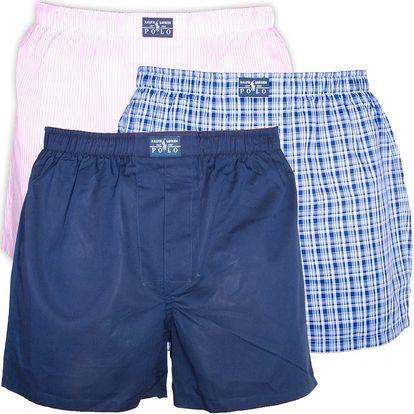 3PACK pánské trenýrky Ralph Lauren modro růžové