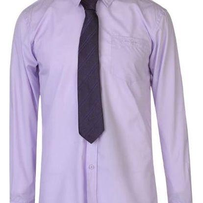 Značková pánská košile s kravatou Pierre Cardin fialová