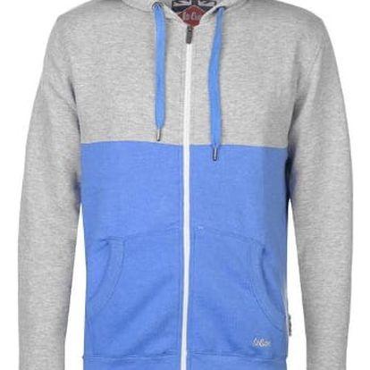 Pánská mikina na zip Lee Cooper šedá/modrá