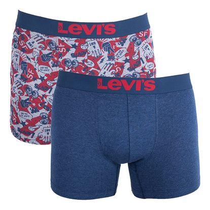 2PACK pánské boxerky Levis red navy emoji