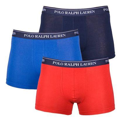 3PACK pánské boxerky Ralph Lauren modro červené