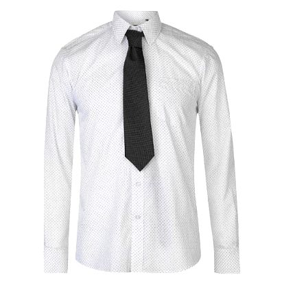 Značková pánská košile s kravatou Pierre Cardin vzor bílá